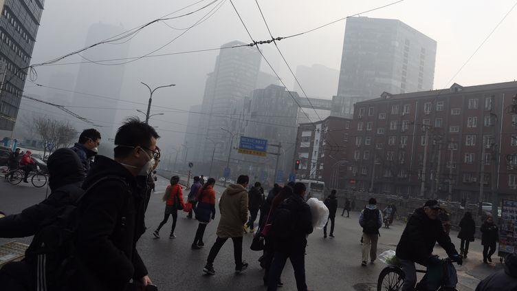 Des passants portent des masques pour se protéger de la pollution à Pékin (Chine), le 14 décembre 2015. (GREG BAKER / AFP)