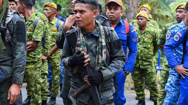 A Serenbam, en Malaisie, des patrouilles recherchent Nora Quoirin, l'adolescente franco-irlandaise qui a disparu, le 8 août 2019. (MOHD RASFAN / AFP)
