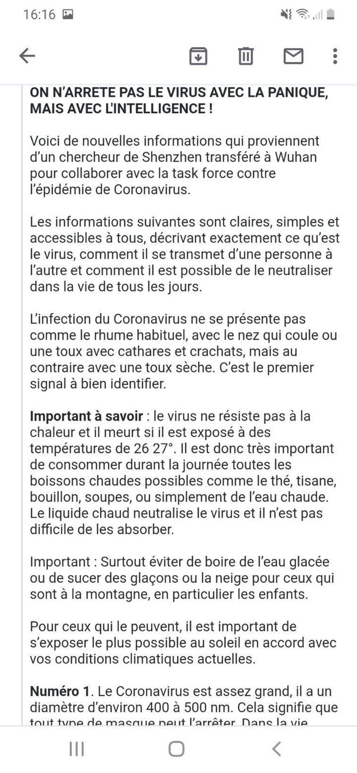 Capture d'écran d'un mail propageant de faux conseils pour se protéger du Covid-19. (FRANCEINFO)