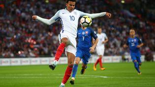 L'Anglais Dele Alli, le 5 septembre 2017 à Wembley (Royaume-Uni). (KIERAN GALVIN / NURPHOTO / AFP)