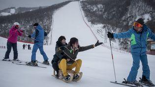 Dans la station de ski deMasikryong (Corée du Nord), le 19 février 2017. (ED JONES / AFP)