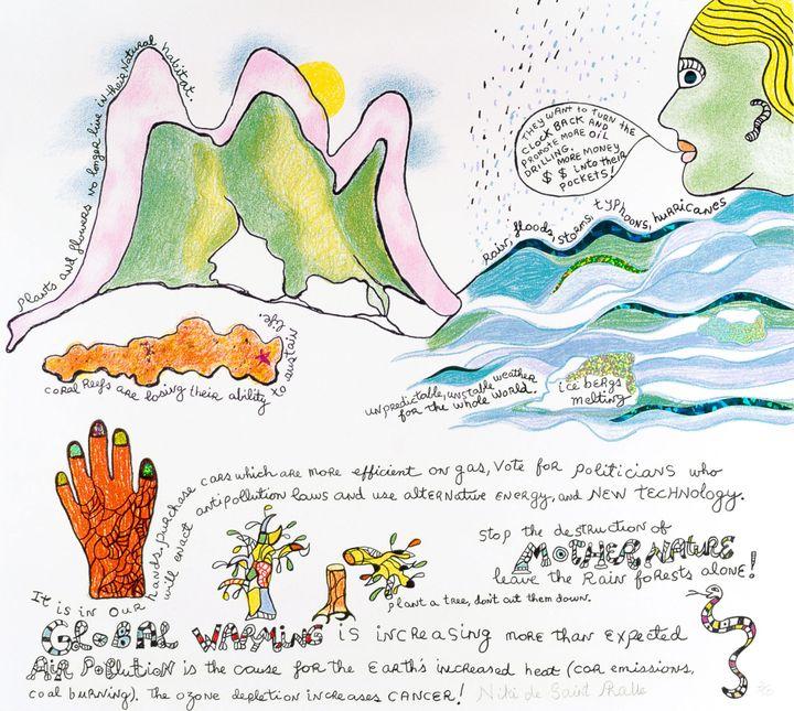 Niki de Saint Phalle.Global Warming. 2001. Lithograph and stickers. (Photo: NCAF Archives.© 2021 Niki Charitable Art Foundation)