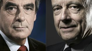 François Fillon et Alain Juppé, lors de discours prononcés respectivement à Parisle 9 novembre 2014 et le 26 octobre 2016. (KENZO TRIBOUILLARD / AFP)