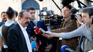 Le secrétaire général de la CGT, Philippe Martinez, le 7 mai 2018 à Matignon. (FRANCOIS GUILLOT / AFP)