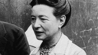 Simone de Beauvoir lors du proces de l'ecrivain Georges Arnaud. Paris, juin 1960.  (DALMAS/SIPA)