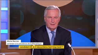 Le candidat LR à la prochaine élection présidentielle, Michel Barnier, mercredi 6 octobre sur la chaîne franceinfo. (FRANCEINFO)
