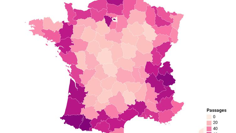 La carte du nombre de passages du Tour de France dans les départements de l'Hexagone. (FRANCEINFO)