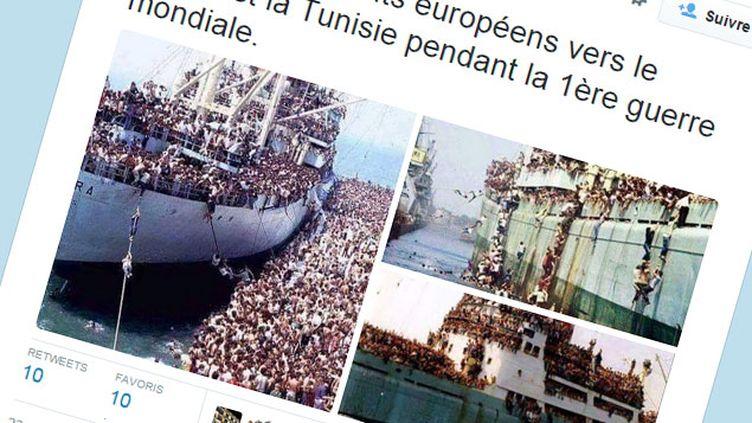 (Cette photo ne montre pas des Européens émigrant vers le Maroc ou la Tunisie pendant la Première Guerre mondiale © Capture d'écran Twitter)