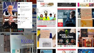 ComptesInstagramdeslibrairiesCharlemagneetdela librairieKleberà Strasbourg, annonçant des rencontresvirtuellesavec SergeJoncour, PrixFemina2020 (Capture d'écran)
