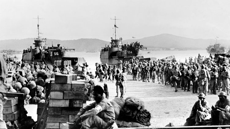 Les Alliés débarquent à Saint Tropez, dans le sud de la France, en août 1944. (AFP)