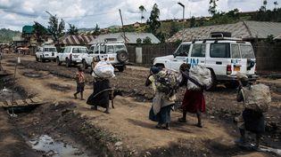 Un convoi de la Monusco dans la ville de Mweso, au Nord-Kivu dans l'est du Congo, le 10 avril 2019. (ALEXIS HUGUET / AFP)