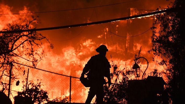 Un pompier lors de l'incendie de Woosley, le 9 novembre 2018 à Malibu, en Californie (Etats-Unis). (ROBYN BECK / AFP)