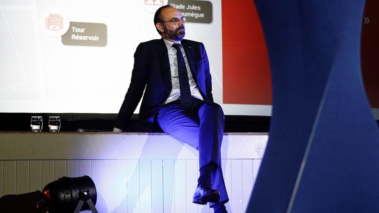 Le Premier ministre, Edouard Philippe, le 5 mars 2020 lors d'une réunion électorale au Havre (Seine-Maritime). (SAMEER AL-DOUMY / AFP)