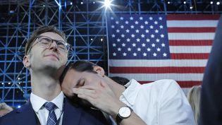 Les supporters de Hillary Clinton pendant la soirée électorale. (KENA BETANCUR / AFP)