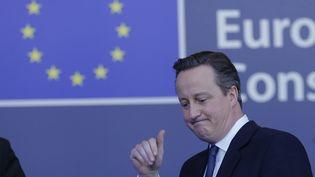 Le Premier ministre britannique, David Cameron, quitte Bruxelles après un sommet européen, le 19 février 2016. (MAXPPP)