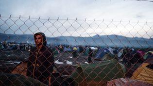 Le 8 mars 2016, un migrant regarde le grillage de barbelés qui le sépare de la frontière macédonienne. (LOUISA GOULIAMAKI / AFP)