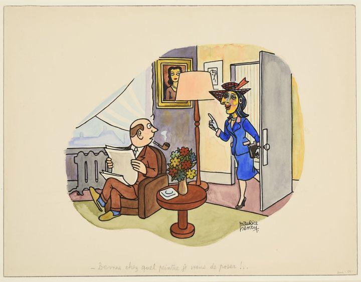 """Le dessinateur français Maurice Henry utilise l'imaginaire collectif lié à Picasso dans ce dessin plein d'humour, """"Devine chez quel peintre je viens de poser ?"""" (Droits réservés)"""