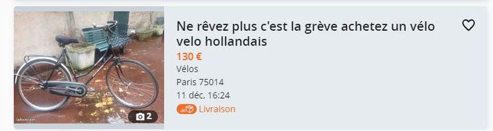 Capture d'écran d'une annonce de vélo d'occasion publiée le 11 décembre 2019 sur le site Le Bon Coin. (LE BON COIN)