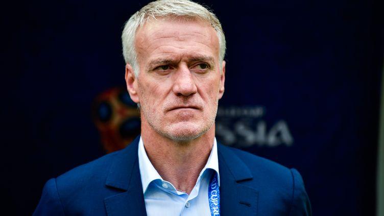 Le sélectionneur des Bleus Didier Deschamps lors du match contre le Danemark, mardi 26 juin à Moscou (Russie). (ZHONG ZHENBIN / IMAGINECHINA / AFP)