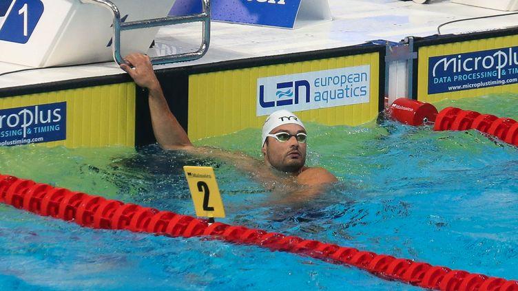 Florent Manaudouen demi-finale papillon 50 m lors des championnats d'Europe 2021, le 20 mai 2021. (LAURENT LAIRYS / LAURENT LAIRYS)