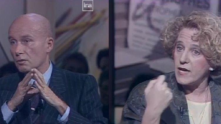 """L'écrivain Gabriel Matzneff et la chroniqueuse québécoise Denise Bombardier, le 2 mars 1990 sur le plateau de l'émission """"Apostrophes"""". (INA)"""