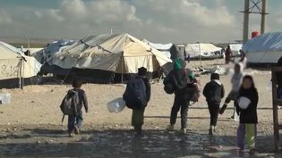 Des enfants dans le camp d'Al-Hol, en Syrie, en février 2019. (FRANCE 2)