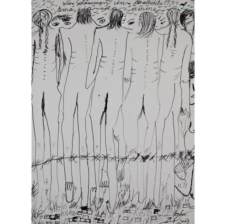 "Ceija Stojka, ""Lazas ame, Wir schämen uns, 1944"", 2003, encre sur papier  (Ceija Stojka, Adagp, 2017. Courtesy Galerie Kai Dikhas)"
