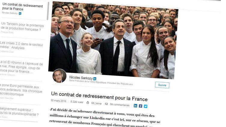 Capture d'écran de la page de Nicolas Sarkozy sur le réseau social LinkedIn, où celui-ci propose un contrat de redressement pour la France, mercredi 30 mars. (LINKEDIN / FRANCETV INFO)