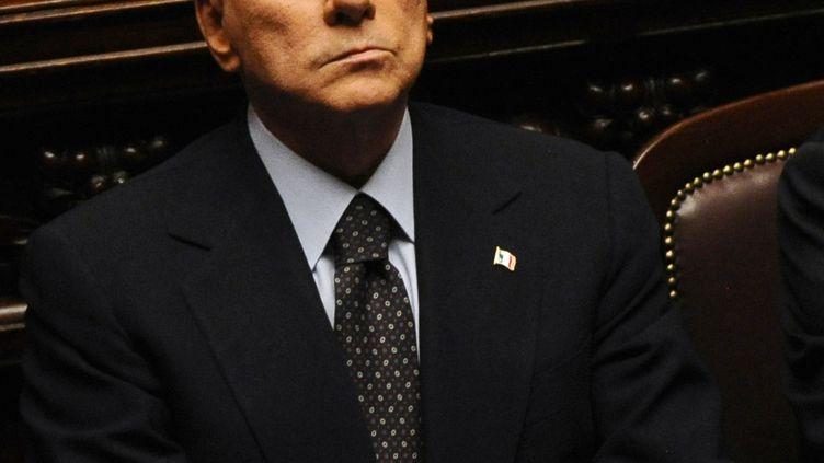 Le Premier ministre italien Silvio Belusconi, avant le vote du 8 novembre à Chambre des députés de Rome. (VINCENZO PINTO / AFP)