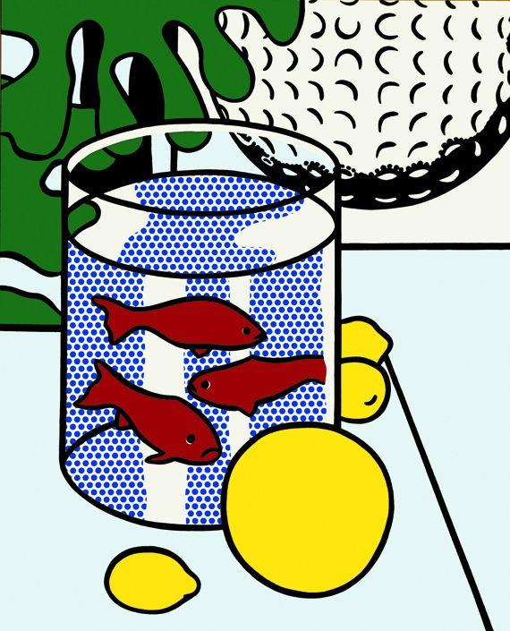 """""""Still Life with Goldfish""""[Nature morte aux poissons rouges], 1972.Huile et Magna sur toile,132,1 x 106,7 cm.Collection particulière. (ESTATE OF ROY LICHTENSTEIN NEW YORK / ADAGP, PARIS, 2)"""