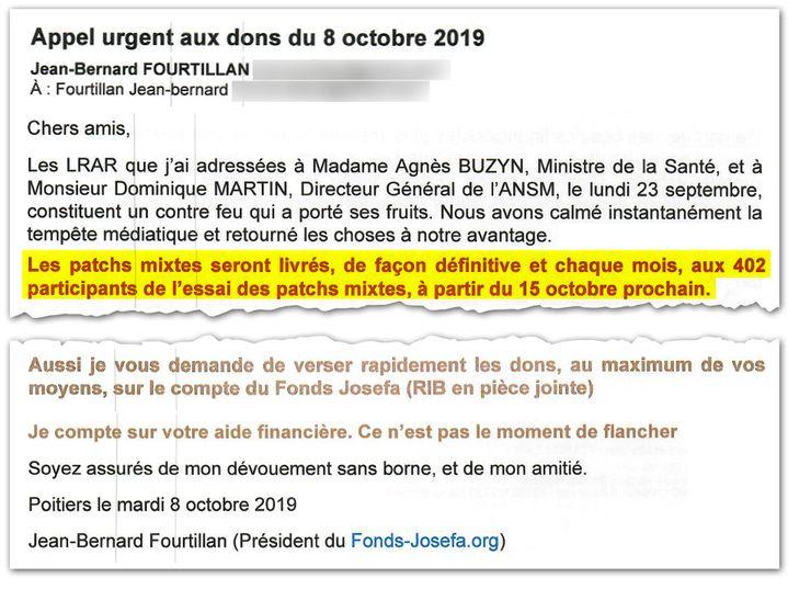Extrait du mail du 8 octobre 2019. Trois semaines après l'interdiction de ses patchs, M. Fourtillan en promet à ses patients. (CELLULE INVESTIGATION DE RADIO FRANCE)