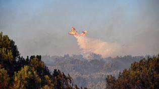Un Canadair de la Sécurité civile intervient sur un incendie près de Générac (Gard), le 2 août 2019. Le même jour, un bombardier d'eau de type Tracker, plus petit, s'est écrasé en combattant cet incendie, tuant son pilote. (PASCAL GUYOT / AFP)