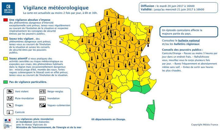 Au total, Meteo France a placé 66 départements en alerte orange à la canicule. (METEO FRANCE)