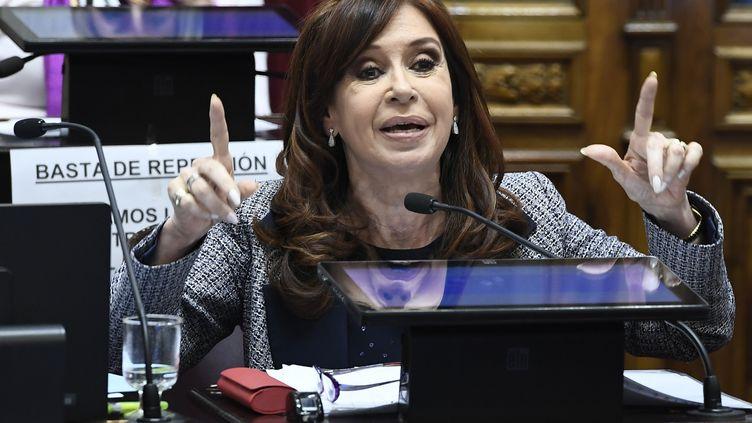 Cristina Kirchner lors d'un discours devant le Parlement, le 22 août 2018, àBuenos Aires, en Argentine. (LUCIANO INGARAMO / PRENSA SENADO / AFP)