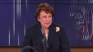 """Roselyne Bachelot,ministre de la Culture était l'invitée du """"8h30 franceinfo"""", vendredi 8 janvier 2021. (FRANCEINFO / RADIOFRANCE)"""