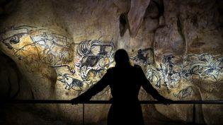 Une personne regarde une reproduction des peintures de la grotte Chauvet, àVallon Pont D'Arc (Ardèche), le 8 avril 2015. (JEFF PACHOUD / AFP)