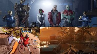 """En haut, le jeu """"Les Gardiens de la galaxie"""" ; en bas de gauche à droite, les jeux """"Riders Republic et """"Far Cry"""". (FRANCEINFO)"""