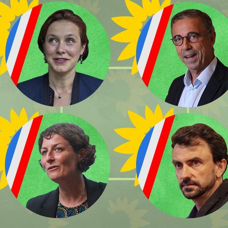 Le succès des écologistes aux municipales de 2020 a propulséles nouveaux maires verts sous l'œil médiatique et politique. A g. Léonore Moncond'huy (Poitiers) et Jeanne Barseghian (Strasbourg) ; à dr., Pierre Hurmic (Bordeaux) et Grégory Doucet (Lyon). (PIERRE-ALBERT JOSSERAND / FRANCEINFO)