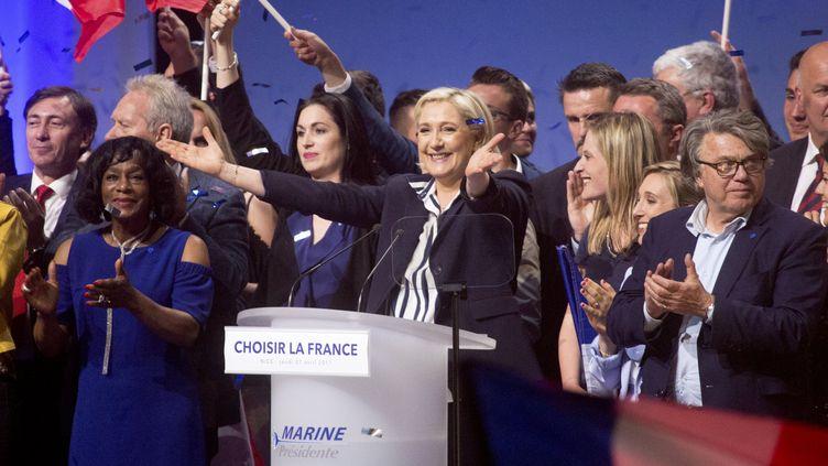 Marine Le Pen lors de son meering à Nice (Alpes-Maritimes), le 27 avril 2017. (IAN HANNING / REA)