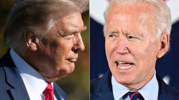 Donald Trump à Washington le 14 octobre 2020, Joe Biden à Cincinnati le 12 octobre 2020 (SAUL LOEB / AFP)