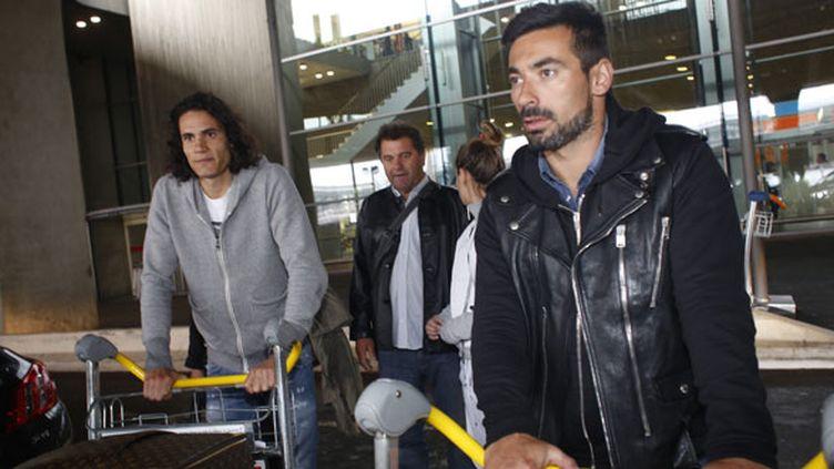 Edinson Cavani et Ezequiel Lavezzi à leur arrivée à l'aéroport vendredi dernier