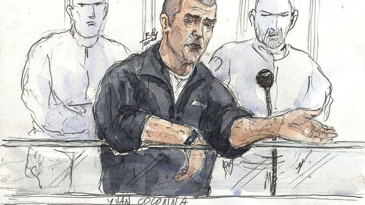 Un croquis d'Yvan Colonna lors d'une audience au tribunal correctionnel de Paris, le 19 mai 2010. (BENOIT PEYRUCQ / AFP)