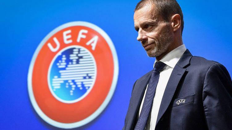 Aleksandr Ceferin, président de l'UEFA, lors d'une conférence de presse le 4 décembre 2019. (FABRICE COFFRINI / AFP)