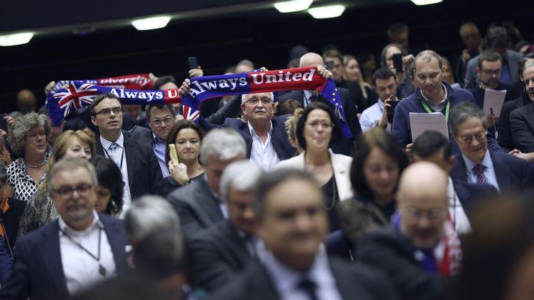 Les eurodéputés entonnent un chant d'adieu après la ratification de l'accord sur le Brexit, à Bruxelles (Belgique), le 29 janvier 2020. (AFP)