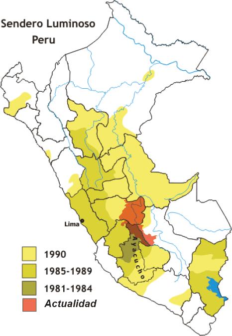 Les territoires successifs du Sentier Lumineux au Pérou de 1990 à nos jours. (DR)