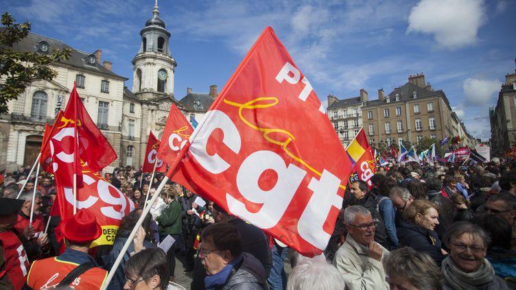 Dans le cortège du 1er mai 2017, à Rennes (Ille-et-Vilaine). (MAXPPP)