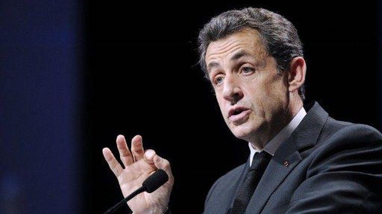Nicolas Sarkozy tient meeting à Strasbourg, le 22 mars 2012. (AFP - Eric Feferberg)