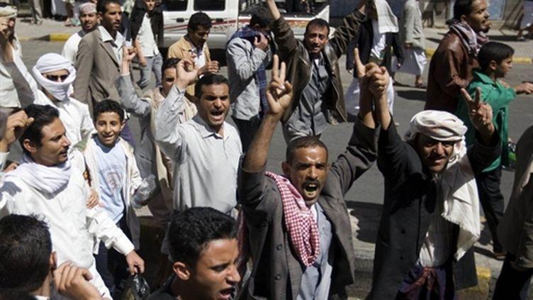 Manifestants anti-gouvernementaux à Sanaa le 18 février 2011 (AFP - AHMAD GHARABLI)