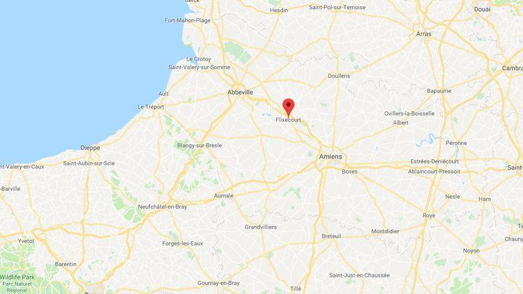 """Capture d'écran de Googlemaps pointant Flixecourt (Somme) où six migrants ont été découverts, le 20 novembre 2018, dans la cuve d'un camion-citerne bloqué à un barrage filtrant des """"gilets jaunes"""". (GOOGLEMAPS)"""
