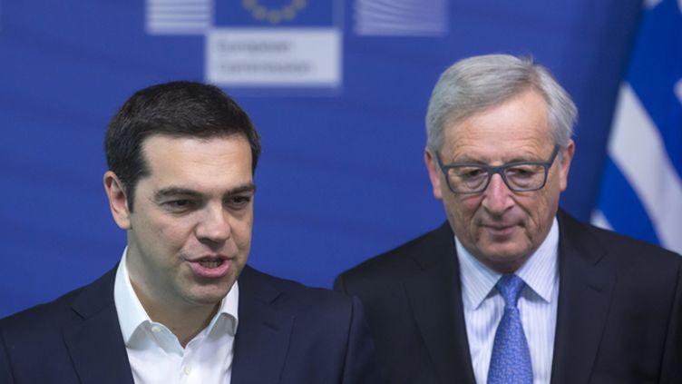 (Alexis Tsipras, le Premier ministre grec, et le président de la Commission Jean-Claude Junker, le 22 juin 2015. © Maxppp)
